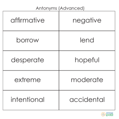 antonyms advanced