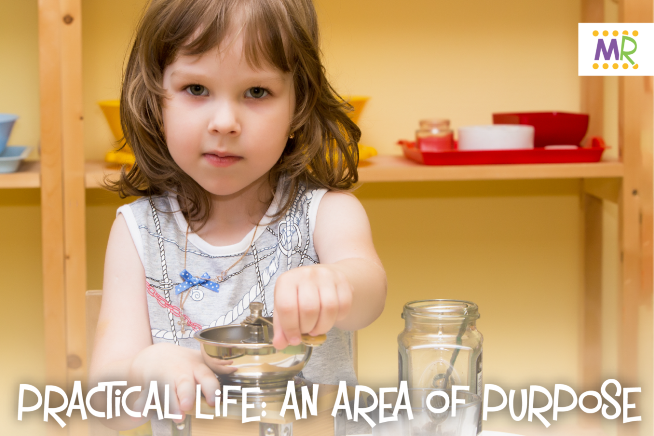 """Practical Life: An Area of Purpose"" - Little girl in classroom grinding coffee in a hand grinder"