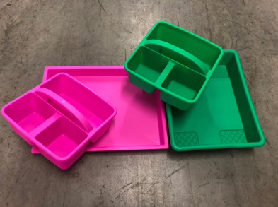 DIY craft materials - pink & green trays