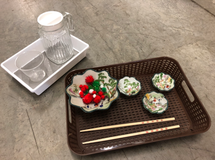 DIY craft materials - dishes, trays, and chopsticks