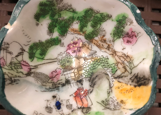 Asian painted dish