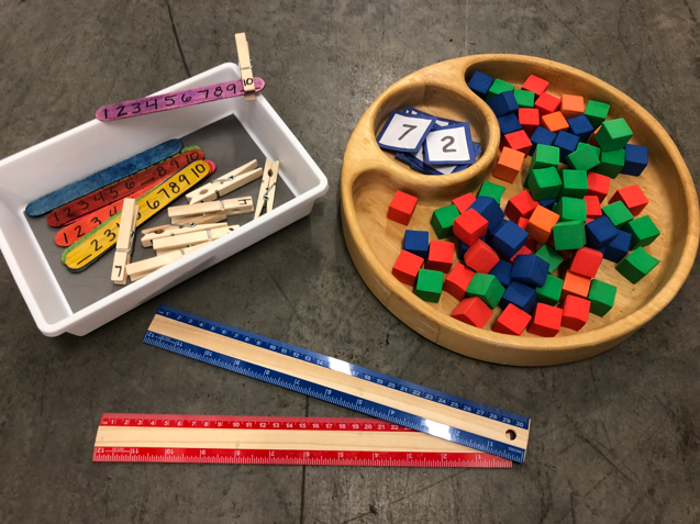 DIY craft materials - mini colored blocks, rulers, and clothes-pins