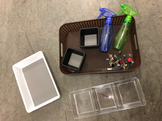 DIY craft materials - buttons, trays, and water-spray bottles